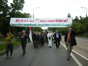 """June , 2013 Pro-Life March in Debrecen, Hungary. The banner reads: """"Peace in the womb! Amnesty for us – amnesty for our children before birth!"""""""