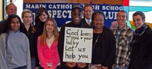 Pastor Hoye at Marin Catholic High School