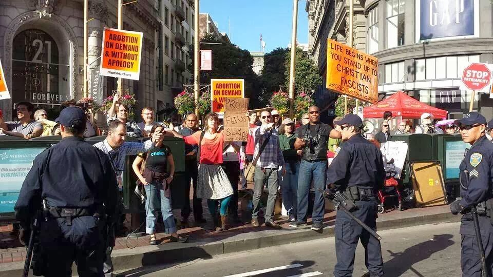 Demonstrators encountered by the Students for Life of America at the walk for Life West Coast.