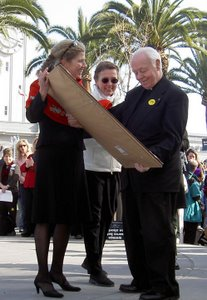 Fr. Malloy receiveing the St. Gianna Molla award at the first Walk for Life West Coast, 2005