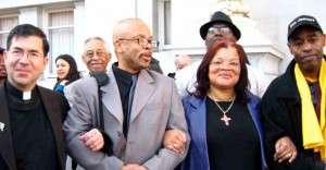 Rev. Walter Hoye (right) at the 2008 Stand Up 4Life Rally and Walk with (left to right) Father Frank Pavone, Rev. Clenard Childress, and Dr. Alveda King.