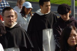 Fr. Anselm, left, at the 2010 Walk for Life West Coast.
